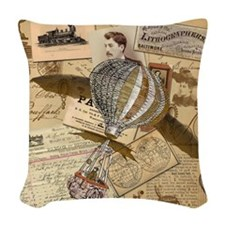 Collage with winged balloon Woven Throw Pillow