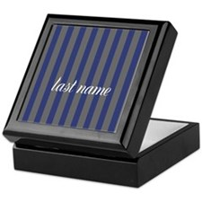 Navy Gray Stripes Monogram Keepsake Box