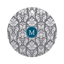 Charcoal Teal Damask Pattern Ornament (Round)
