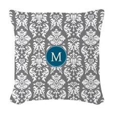 Charcoal Teal Damask Pattern Woven Throw Pillow