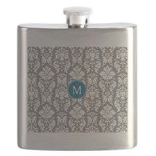 Charcoal Teal Damask Pattern Flask