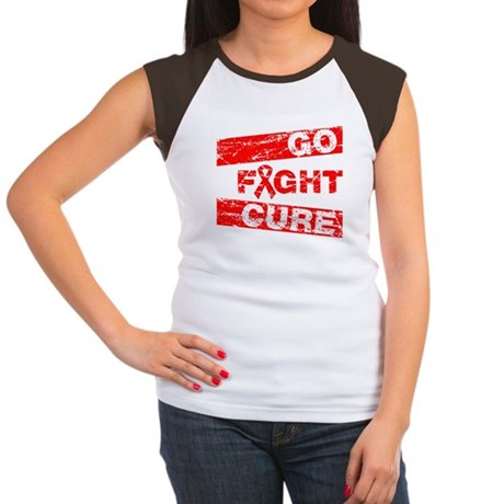 Heart Disease Go Fight Cure Women's Cap Sleeve T-S
