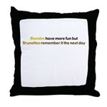 Blond vs Brunette Throw Pillow