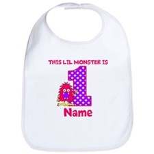 1st Birthday Monster Pink Bib