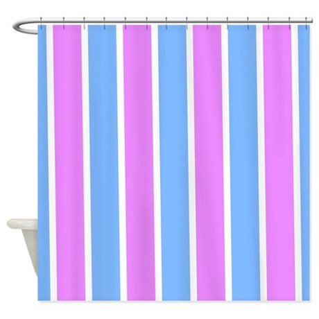 Pink And Medium Blue Stripes 1 Shower Curtain By Laughoutlouddesigns1