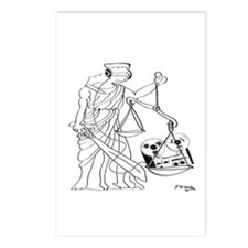 Lady Justice, Blind, but not Deaf Postcards (Packa