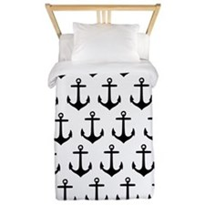Black and white anchor pattern Twin Duvet