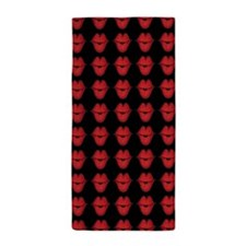 Red Lips On Black Background Beach Towel
