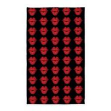 Red Lips On Black Background 3'x5' Area Rug