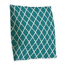 Teal Moroccan Lattice Burlap Throw Pillow