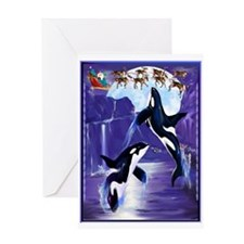 Orca Christmas Oval Greeting Cards