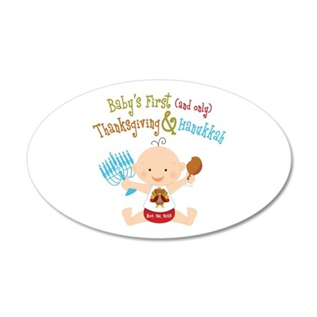 1st Thanksgiving Hanukkah 20x12 Oval Wall Decal