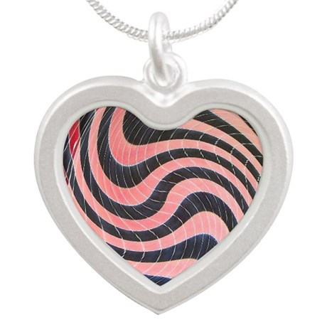 pink black wild swirl abstra Silver Heart Necklace