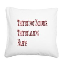 Not Zombies Red Square Canvas Pillow