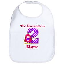 2nd Birthday Pink Monster Bib