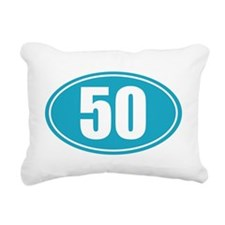 50 light blue oval decal Rectangular Canvas Pillow
