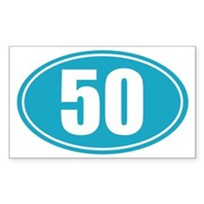 50 light blue oval decal Decal