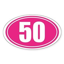 50 Pink oval decal Decal