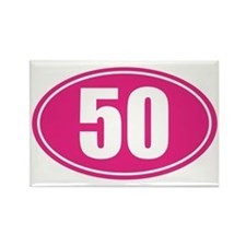 50 Pink oval decal Rectangle Magnet