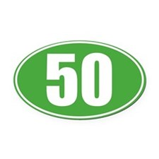 50 Green oval decal Oval Car Magnet