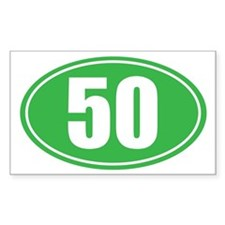 50 green oval Stickers