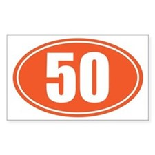 50 orange oval Decal