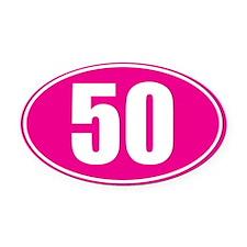 50 pink oval Oval Car Magnet
