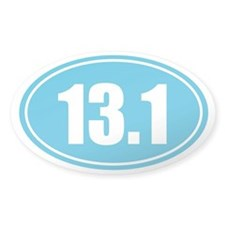 13.1 light blue oval Decal