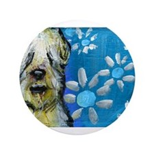 "Wheaten Terrier flowers 3.5"" Button"