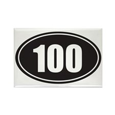 100 black oval Rectangle Magnet