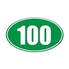 100 green oval Oval Car Magnet