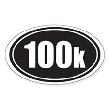 100k black oval Bumper Stickers