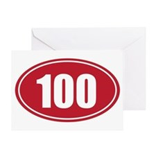 100 red oval Greeting Card