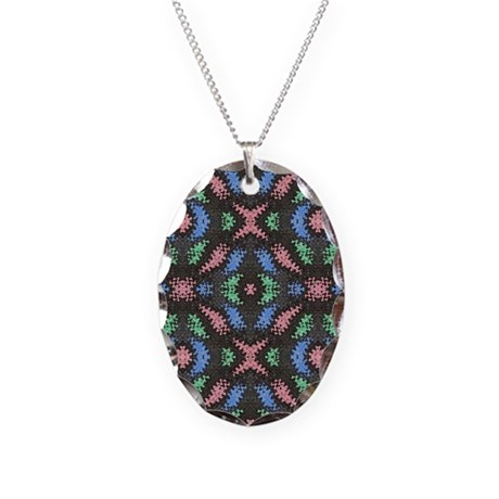 Colorful pattern on black Necklace Oval Charm