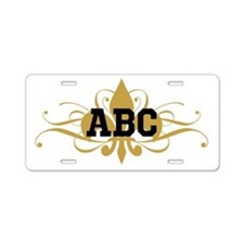 CUSTOM TEXT Fleur De Lis Aluminum License Plate