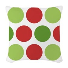 Big Christmas Polka Dots Woven Throw Pillow