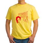 ZOMBIE GOTTA EAT Yellow T-Shirt