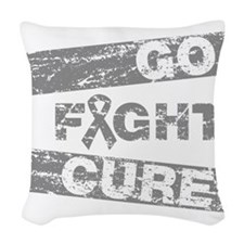 Brain Cancer Go Fight Cure Woven Throw Pillow