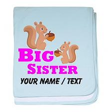 Custom Big Sister Squirrel baby blanket