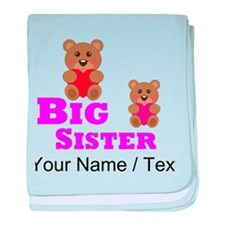 Custom Big Sister Teddy Bear baby blanket