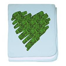 Green Leaves Heart baby blanket