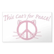 Pink Peace Cat Rectangle Decal