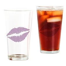 Purple Herringbone Lips Drinking Glass