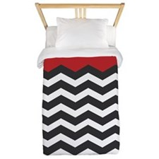 Red Black and White Chevron Twin Duvet