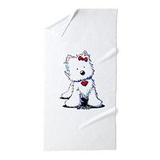Westie Heart Girl Beach Towel