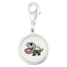 Cartoon Honey Badger Silver Round Charm