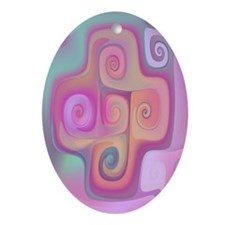 """Pastel"" Fractal Art Oval Ornament"