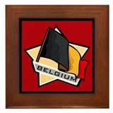 """Belgium Star Flag"" Framed Tile"