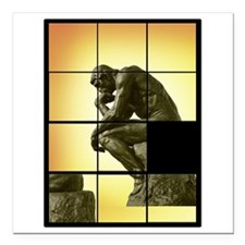 "The Thinker, image slidi Square Car Magnet 3"" x 3"""