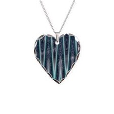 Teal Abstract Pattern Necklace Heart Charm